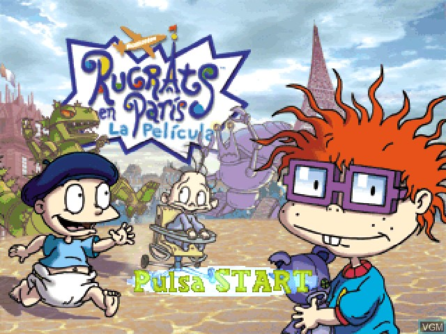 Title screen of the game Nickelodeon Rugrats en Paris - La pelicula on Sony Playstation
