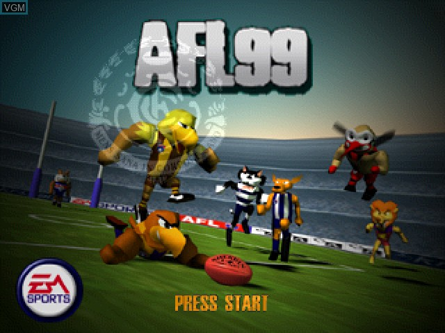 Title screen of the game AFL 99 on Sony Playstation