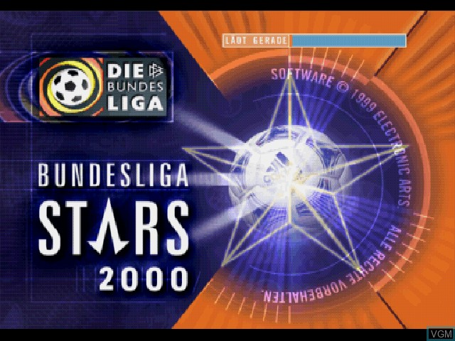Title screen of the game Bundesliga Stars 2000 on Sony Playstation