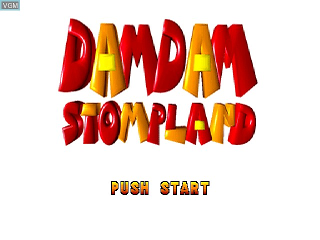 Title screen of the game Damdam Stompland on Sony Playstation