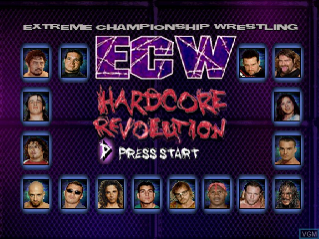 Title screen of the game ECW Hardcore Revolution on Sony Playstation