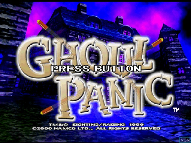 Title screen of the game Ghoul Panic on Sony Playstation