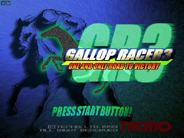 Title screen of the game Gallop Racer 3 on Sony Playstation