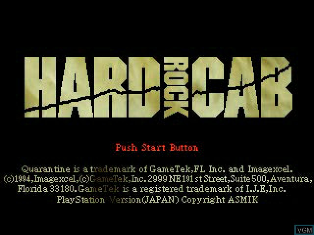 Title screen of the game Hard Rock Cab on Sony Playstation