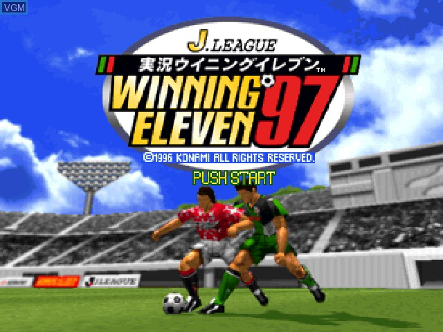 Title screen of the game J. League Jikkyou Winning Eleven '97 on Sony Playstation