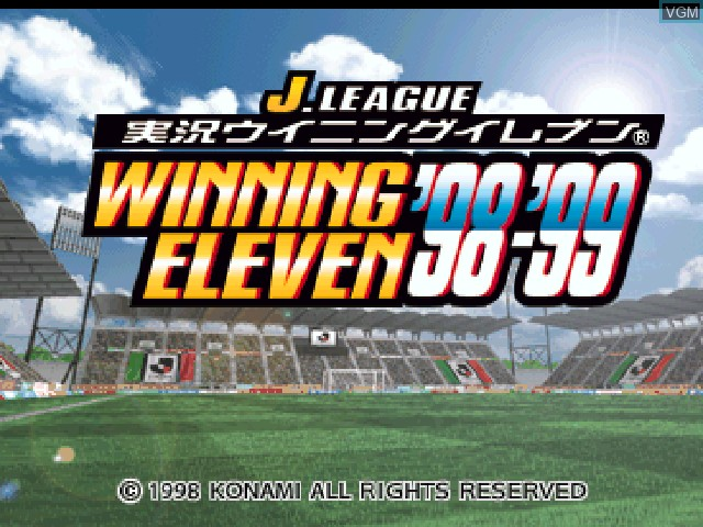 Title screen of the game J. League Jikkyou Winning Eleven '98-'99 on Sony Playstation
