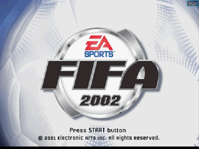 Title screen of the game FIFA Soccer 2002 on Sony Playstation
