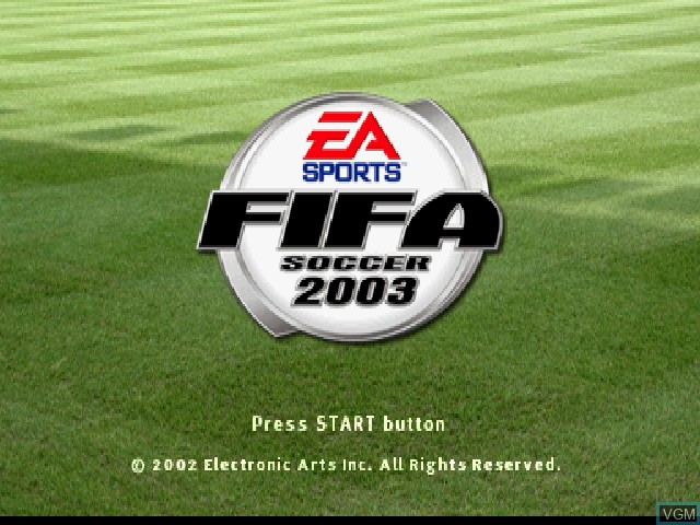Title screen of the game FIFA Soccer 2003 on Sony Playstation