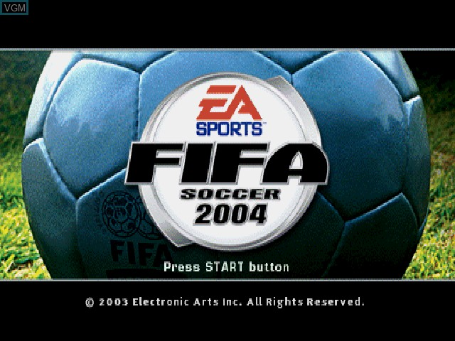 Title screen of the game FIFA Soccer 2004 on Sony Playstation