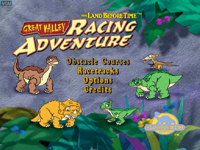 Title screen of the game Land Before Time, The - Great Valley Racing Adventure on Sony Playstation