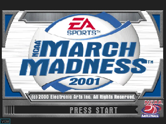 Title screen of the game NCAA March Madness 2001 on Sony Playstation