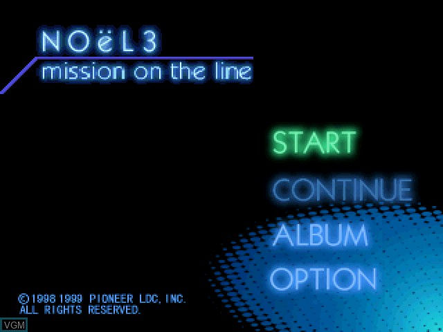 Title screen of the game NOeL 3 - Mission on the Line on Sony Playstation