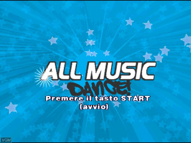 Title screen of the game All Music Dance! on Sony Playstation