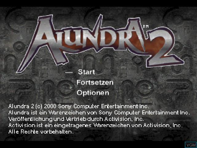Title screen of the game Alundra 2 - Der Beginn einer neuen Legende on Sony Playstation