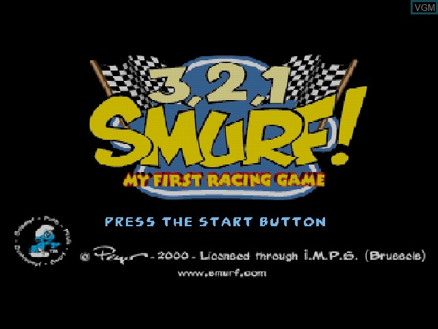 Title screen of the game 3, 2, 1, Smurf! My First Racing Game on Sony Playstation