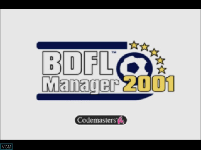Title screen of the game BDFL Manager 2001 on Sony Playstation