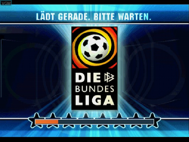 Title screen of the game Bundesliga Stars 2001 on Sony Playstation