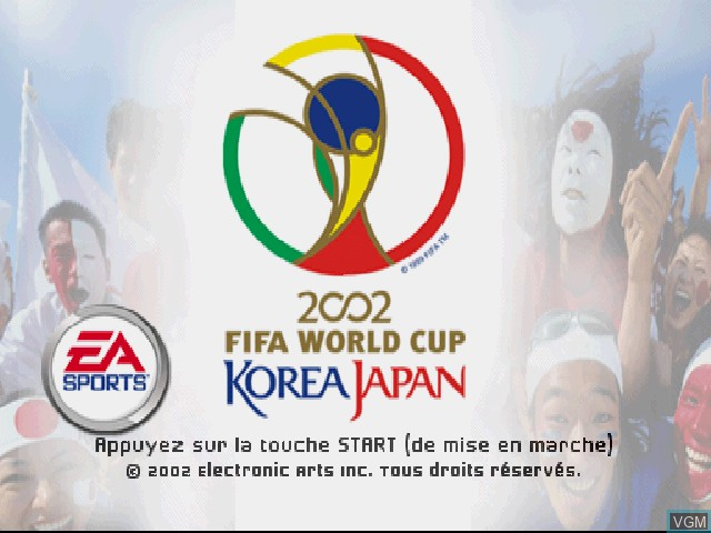 Title screen of the game Coupe du Monde FIFA 2002 on Sony Playstation
