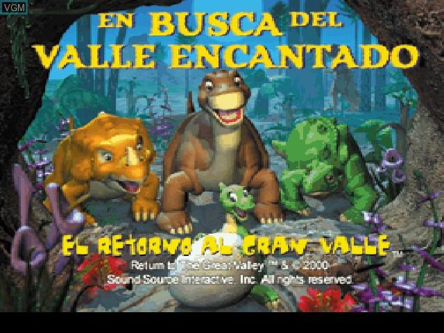 Title screen of the game En Busca del Valle Encantado - El Retorno al Gran Valle on Sony Playstation