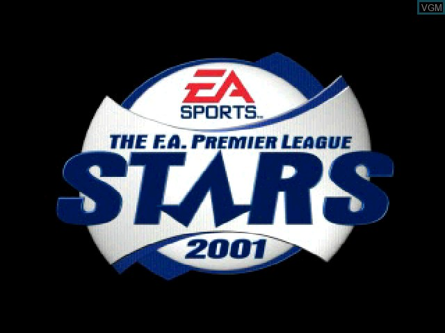 Title screen of the game F.A. Premier League Stars 2001, The on Sony Playstation