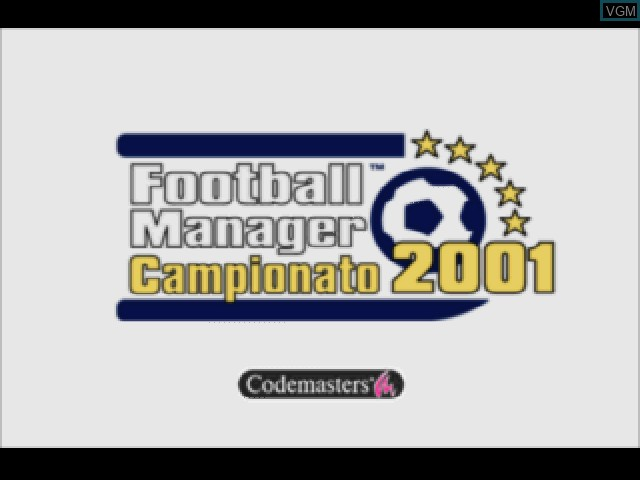 Title screen of the game Football Manager Campionato 2001 on Sony Playstation