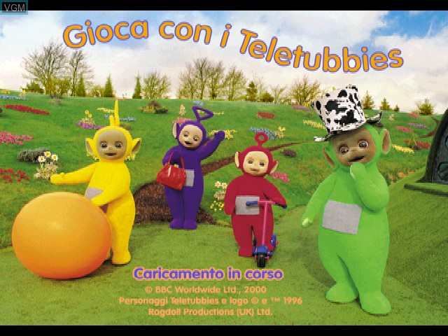 Title screen of the game Gioca con i Teletubbies on Sony Playstation