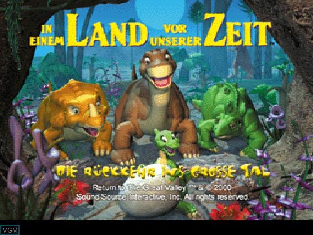 Title screen of the game In einem Land vor unserer Zeit - Die Rueckkehr ins Grosse Tal on Sony Playstation