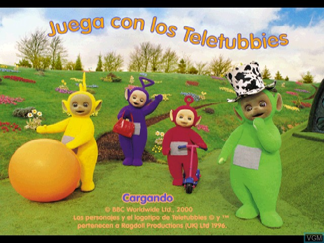 Title screen of the game Juega con los Teletubbies on Sony Playstation