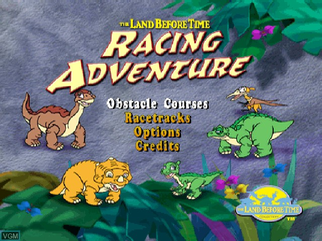 Title screen of the game Land Before Time, The - Racing Adventure on Sony Playstation