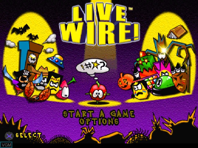 Title screen of the game Live Wire! on Sony Playstation