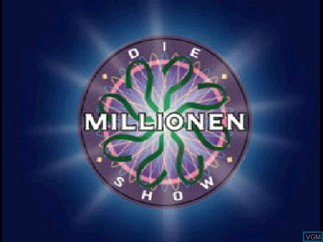 Title screen of the game Millionen Show, Die on Sony Playstation