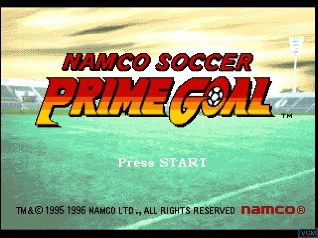 Title screen of the game Namco Soccer Prime Goal on Sony Playstation