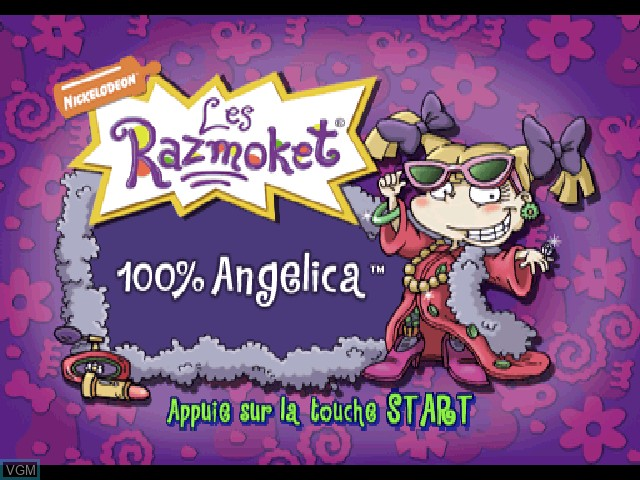 Title screen of the game Nickelodeon Les Razmoket - 100% Angelica on Sony Playstation