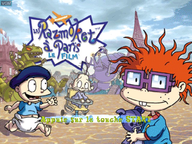 Title screen of the game Nickelodeon Les Razmoket a Paris - Le Film on Sony Playstation