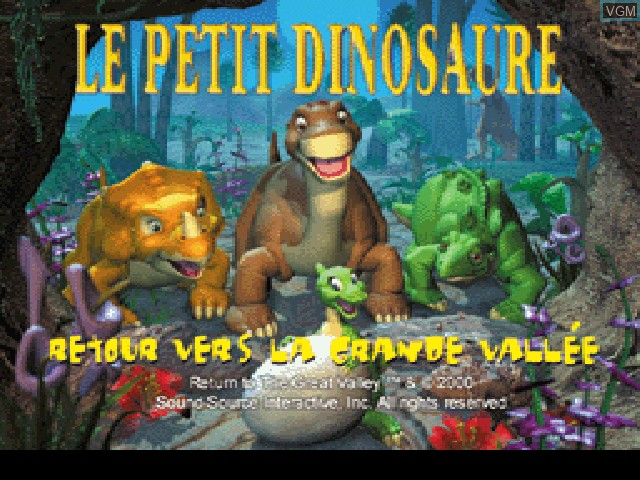 Title screen of the game Petit Dinosaure, Le - Retour vers la Grande Vallee on Sony Playstation