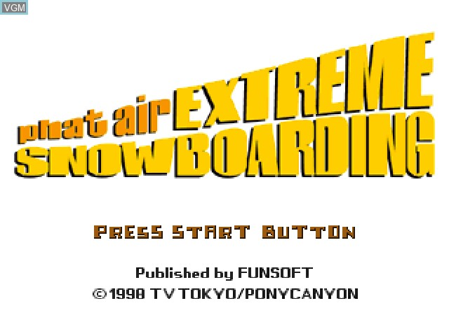 Title screen of the game Phat Air - Extreme Snowboarding on Sony Playstation