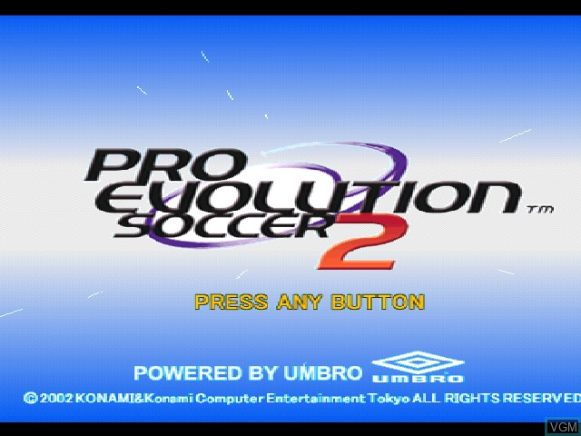Title screen of the game Pro Evolution Soccer 2 on Sony Playstation