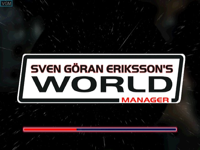 Title screen of the game Sven-Goeran Eriksson's World Manager on Sony Playstation