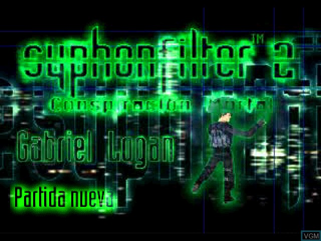Title screen of the game Syphon Filter 2 - Conspiracion Mortal on Sony Playstation