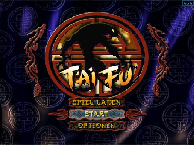 Title screen of the game T'ai Fu - Die Rache des Tigers on Sony Playstation