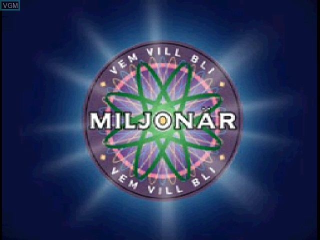 Title screen of the game Vem vill bli Miljonaer on Sony Playstation