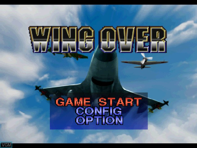 Title screen of the game Wing Over on Sony Playstation