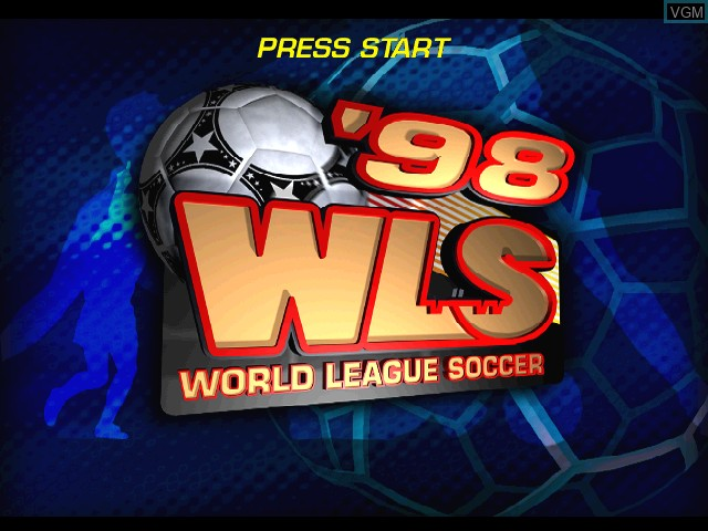Title screen of the game World League Soccer '98 on Sony Playstation