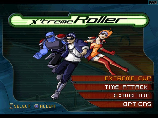 Title screen of the game X'treme Roller on Sony Playstation