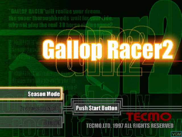 Title screen of the game Gallop Racer 2 on Sony Playstation