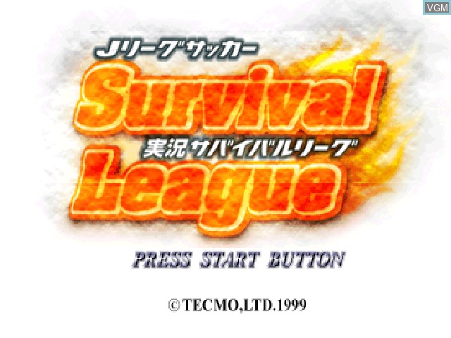 Title screen of the game J. League Soccer Jikkyou Survival League on Sony Playstation