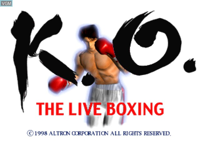 Title screen of the game K.O. the Live Boxing on Sony Playstation