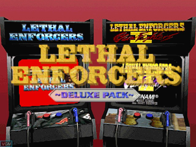 Title screen of the game Lethal Enforcers Deluxe Pack on Sony Playstation