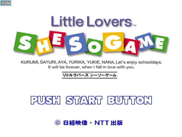 Title screen of the game Little Lovers - She So Game on Sony Playstation