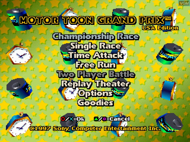 Title screen of the game Motor Toon Grand Prix - USA Edition on Sony Playstation